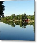 Covered Bridge Reflections At L'ange Gardien Quebec Metal Print