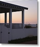 Covered Porch And Fence At Sunset Metal Print by Roberto Westbrook