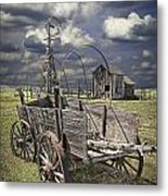 Covered Wagon And Farm In 1880 Town Metal Print