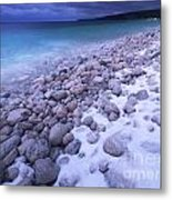 Covered With Snow Pebbled Shore Of Georgian Bay Metal Print