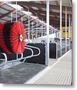 Cow Brush In A Cowshed Metal Print