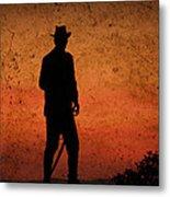 Cowboy At Sunset Metal Print