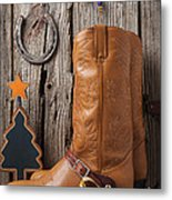 Cowboy Boots And Christmas Ornaments Metal Print