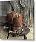 Cowboy Boots With Spurs Metal Print