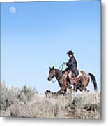Cowboy Desert Moon Metal Print by Cindy Singleton