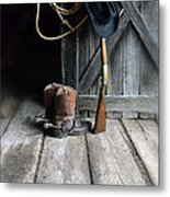 Cowboy Hat Boots Lasso And Rifle Metal Print