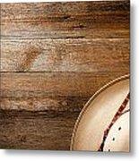 Cowboy Hat On Wood Metal Print