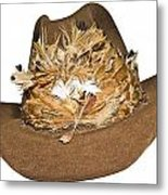 Cowboy Hat With Feathers Metal Print