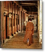 Cowboy In Old West Town Metal Print