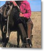 Cowboy In South Dakota Metal Print