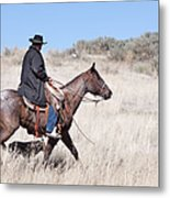 Cowboy On Horseback Metal Print by Cindy Singleton