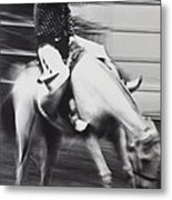 Cowboy Riding Bucking Horse  Metal Print