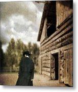 Cowboy Walking By Barn Metal Print