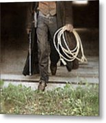 Cowboy With Guns And Rope Metal Print