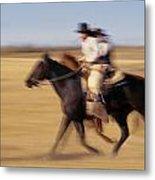 Cowboys Racing Horses Metal Print