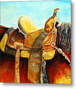 Cowgirl Saddle Metal Print