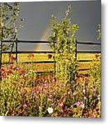 Cows In Stormy Pasture Metal Print