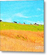 Cows On A Hill . 40d3430 . Painterly Metal Print