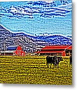 Cows Pasture Barns Superspecialeffect Metal Print