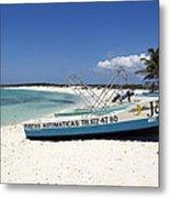 Cozumel Mexico Fishing Boats On White Sand Beach Metal Print