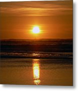 Crab Fishing The Sunset Metal Print