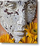 Cracked Face And Sunflowers Metal Print