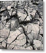 Cracked Rocks On Shore Metal Print