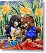 Cracky Bear And Little Boy Bear  So Happy Together Metal Print