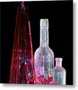 Cranberry And White Bottles Metal Print