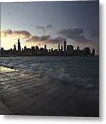 crashing waves at sunset in Chicago Metal Print