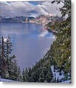 Crater Lake And Approaching Clouds Metal Print