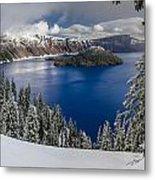 Crater Lake And Fresh Snow Panorama Metal Print