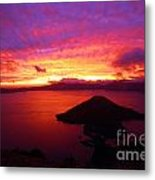 Crater Lake Fire In The Sky Metal Print