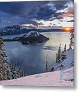 Crater Lake Snow Sunrise Metal Print
