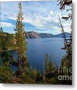 Crater Lake Through The Trees Metal Print