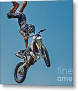 Crazy Motorcycle Rider Metal Print