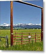 Crazy Mountain Ranch Gate Metal Print