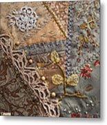 crazy quilt block May Metal Print