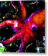 Creatures Of The Deep - The Octopus - V3 - Electric - Orange Metal Print by Wingsdomain Art and Photography