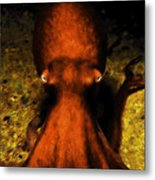 Creatures Of The Deep - The Octopus - V4 - Orange Metal Print by Wingsdomain Art and Photography