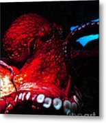 Creatures Of The Deep - The Octopus - V6 - Red Metal Print by Wingsdomain Art and Photography