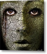 Creepy Cracked Face With Tears Metal Print by Jill Battaglia