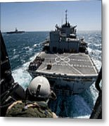 Crewman Guides The Pilots Of An Hh-60h Metal Print