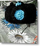 Crochet Camera Bw Metal Print