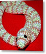 Crochet Snake In Red Metal Print