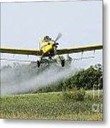 Crop Dusting Plane In Action Metal Print