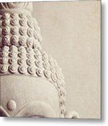 Cropped Stone Buddha Head Statue Metal Print by Lyn Randle