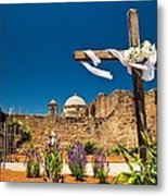 Cross At Mission San Jose Texas Metal Print