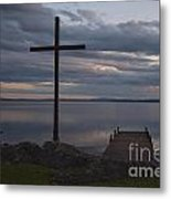 Cross By Lake Metal Print