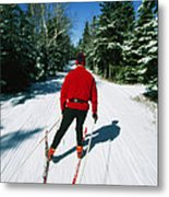 Cross-country Skiing, Lake Placid, New Metal Print